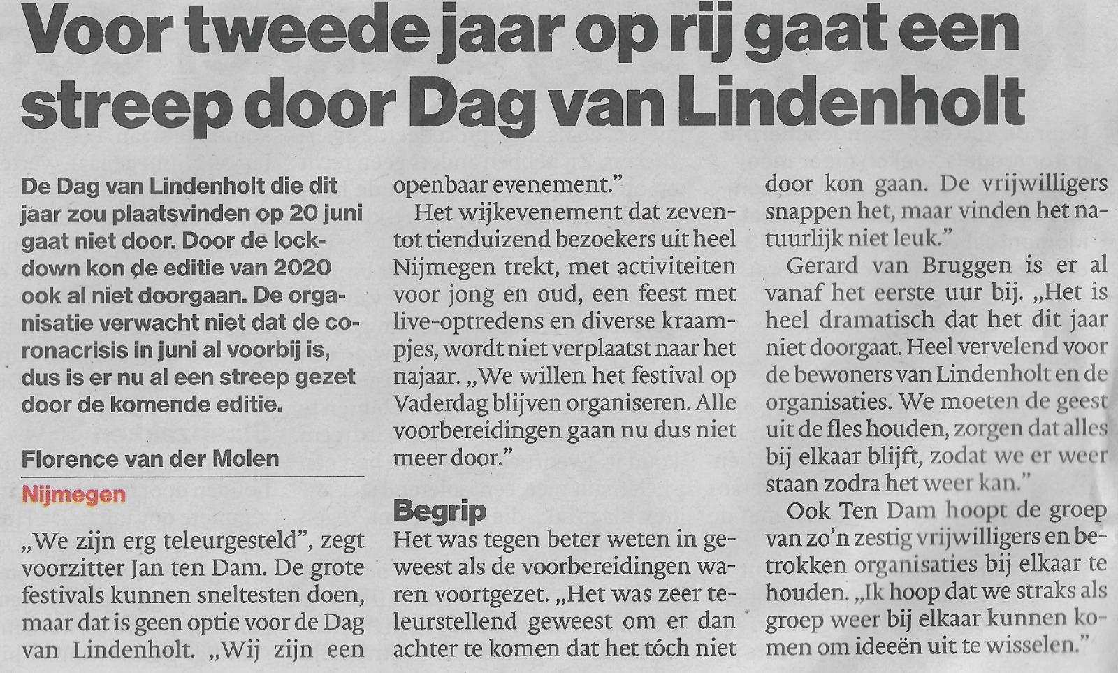 Artikel de Gelderlander - Dag van Lindenholt